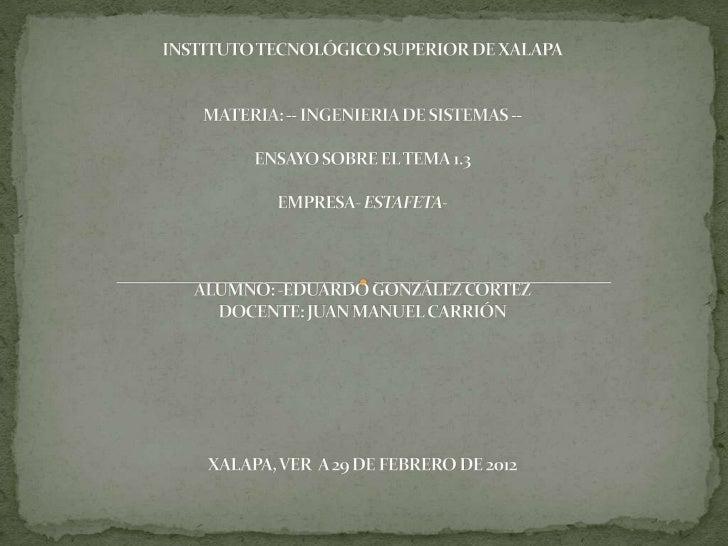  INTRODUCCIÓN. El 8 de agosto de 1979 se constituye Mexicana de  Estafeta, primera empresa de mensajería en introducir  ...