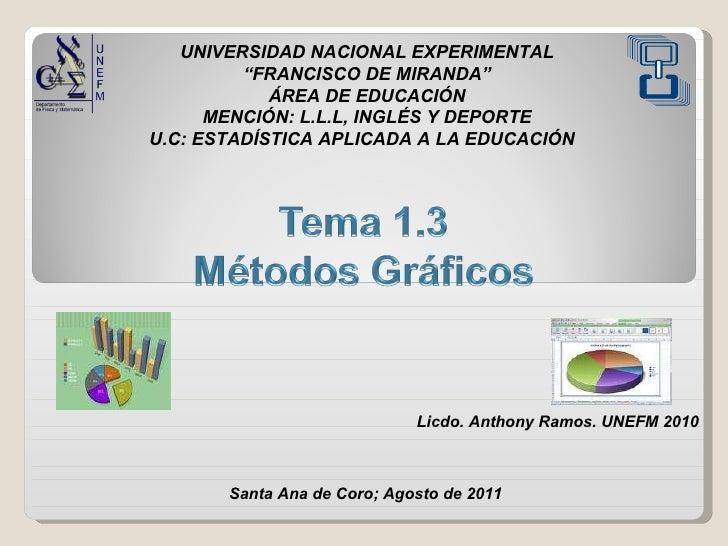"""UNIVERSIDAD NACIONAL EXPERIMENTAL """" FRANCISCO DE MIRANDA"""" ÁREA DE EDUCACIÓN MENCIÓN: L.L.L, INGLÉS Y DEPORTE U.C: ESTADÍST..."""