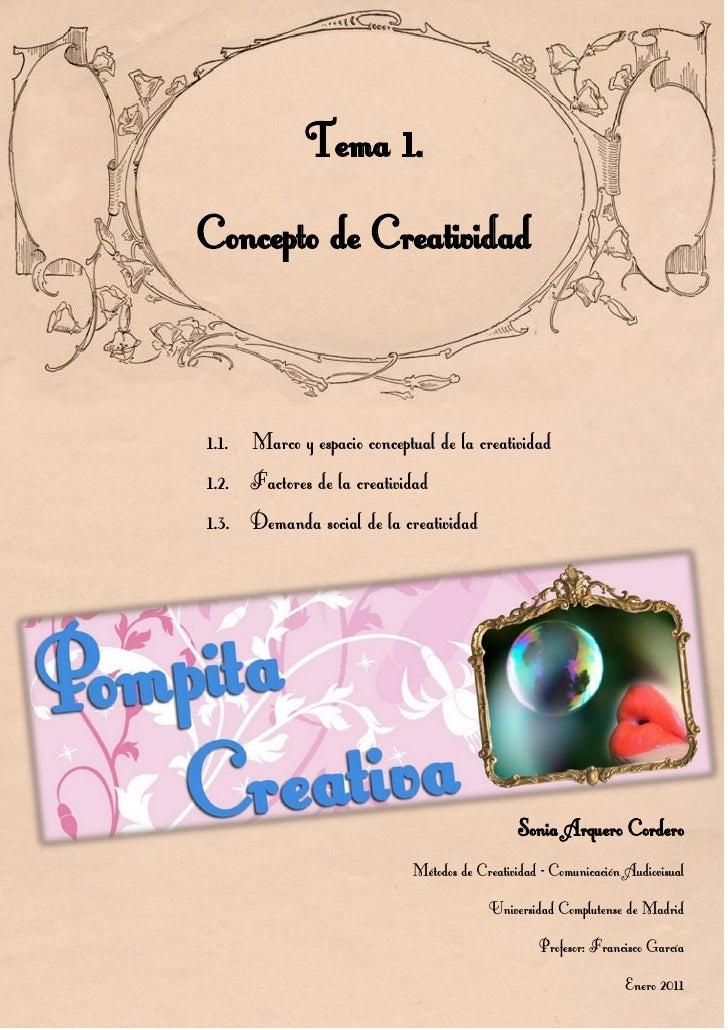 Tema 1   Concepto de Creatividad