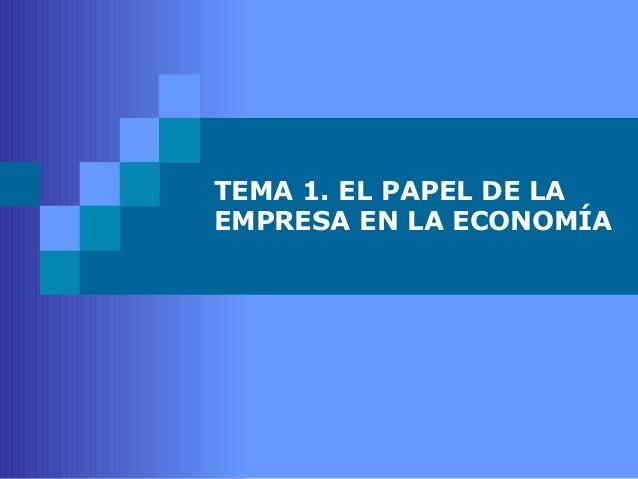 TEMA 1. EL PAPEL DE LA  EMPRESA EN LA ECONOMÍA