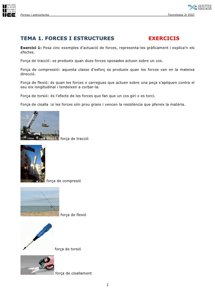 Forces i estructures                                                               Tecnologia 3r ESO     TEMA 1. FORCES I ...