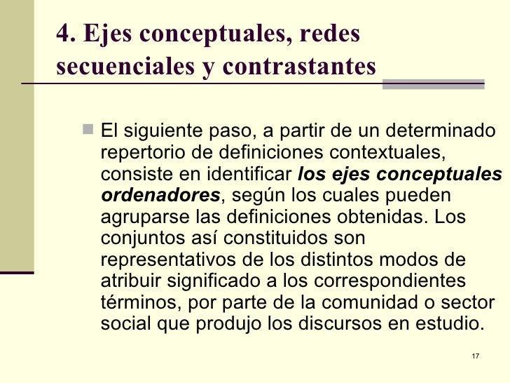 4. Ejes conceptuales, redes secuenciales y contrastantes <ul><li>El siguiente paso, a partir de un determinado repertorio ...