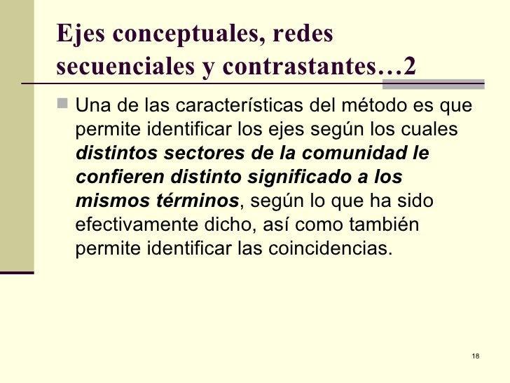 Ejes conceptuales, redes secuenciales y contrastantes…2 <ul><li>Una de las características del método es que permite ident...