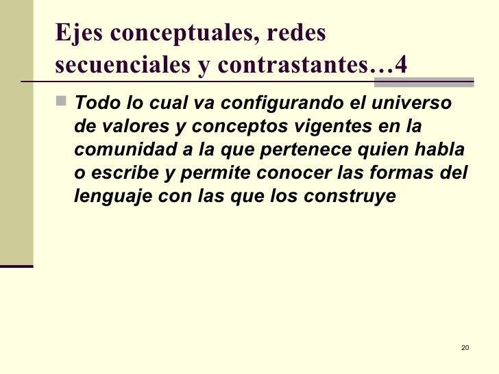 Ejes conceptuales, redes secuenciales y contrastantes…4 <ul><li>Todo lo cual va configurando el universo de valores y conc...
