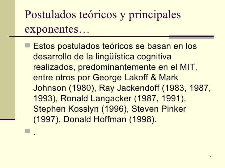 Postulados teóricos y principales exponentes… <ul><li>Estos postulados teóricos se basan en los desarrollo de la lingüísti...