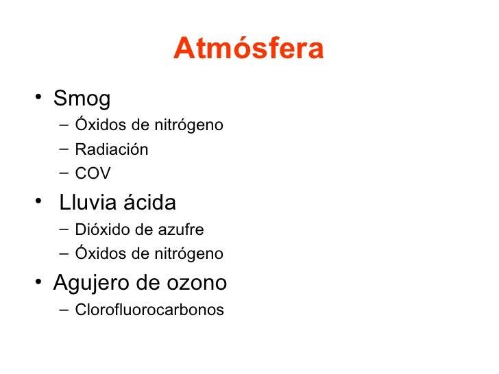 Atmósfera <ul><li>Smog </li></ul><ul><ul><li>Óxidos de nitrógeno </li></ul></ul><ul><ul><li>Radiación </li></ul></ul><ul><...