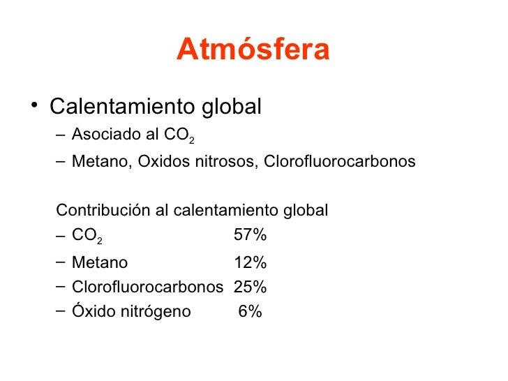 Atmósfera <ul><li>Calentamiento global </li></ul><ul><ul><li>Asociado al CO 2 </li></ul></ul><ul><ul><li>Metano, Oxidos ni...