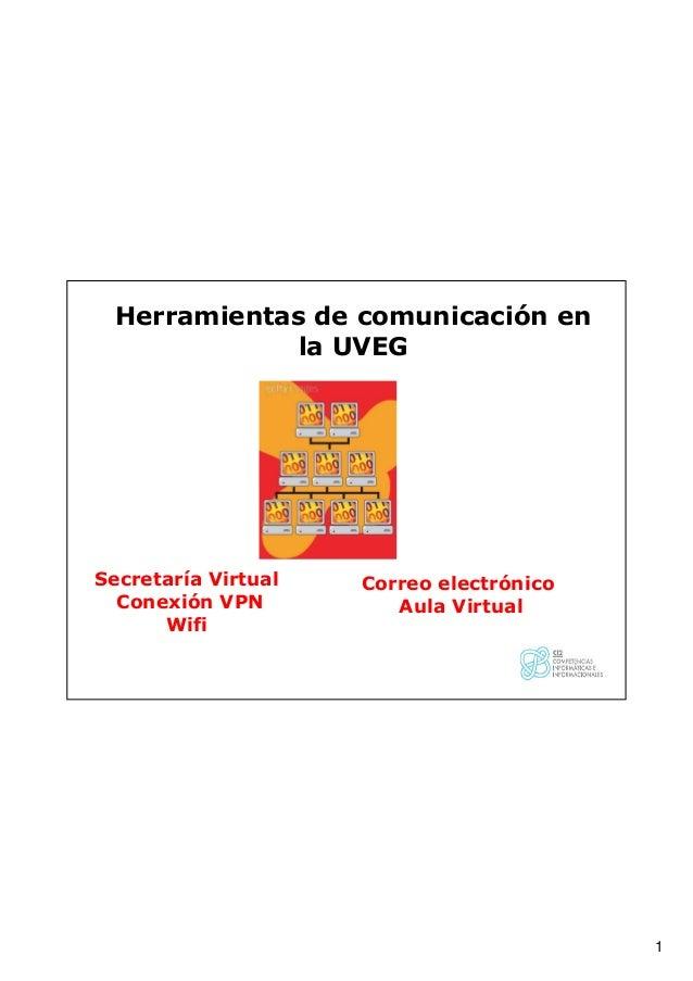 1 Secretaría Virtual Conexión VPN Wifi Herramientas de comunicación en la UVEG Correo electrónico Aula Virtual