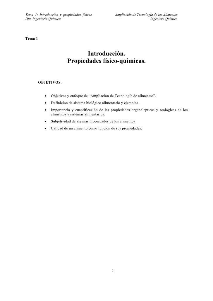 Tema 1: Introducción y propiedades físicas               Ampliación de Tecnología de los AlimentosDpt. Ingeniería Química ...