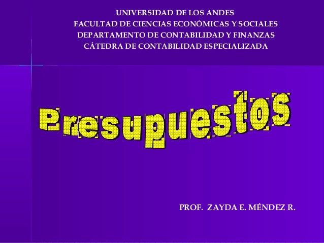 UNIVERSIDAD DE LOS ANDESFACULTAD DE CIENCIAS ECONÓMICAS Y SOCIALES DEPARTAMENTO DE CONTABILIDAD Y FINANZAS  CÁTEDRA DE CON...