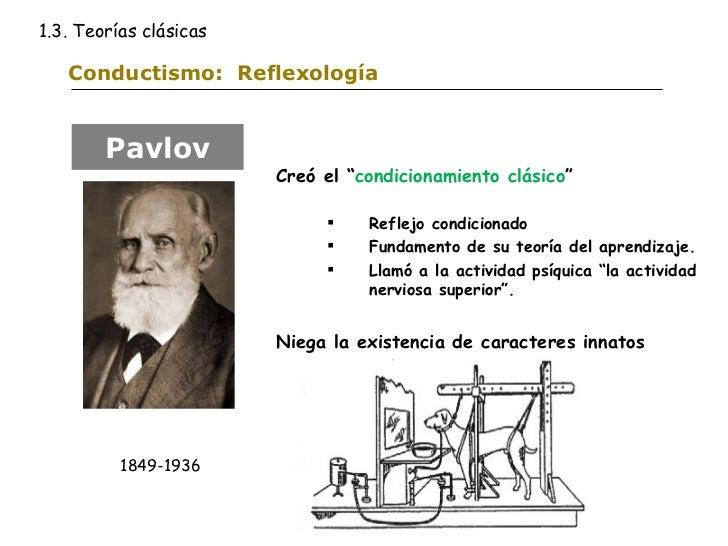 """Conductismo:  Reflexología <ul><li>Creó el """" condicionamiento clásico """" </li></ul><ul><ul><li>Reflejo condicionado </li></..."""