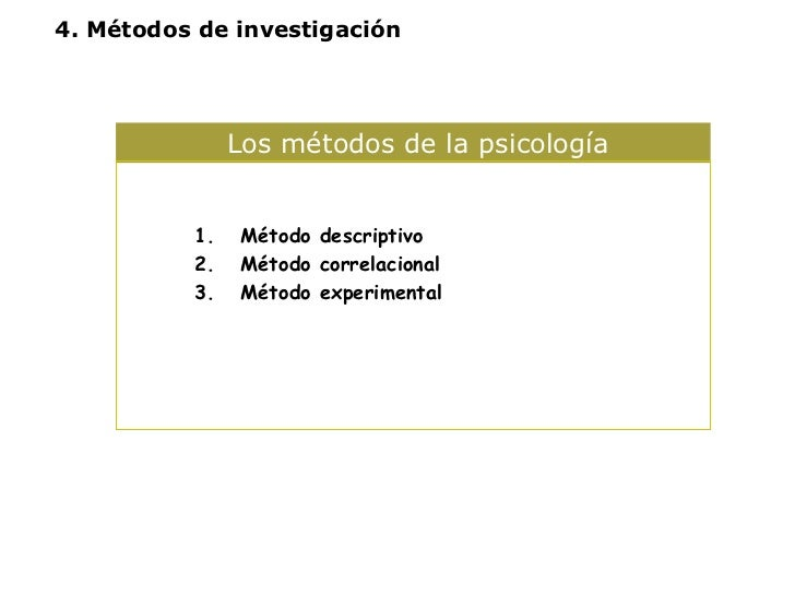 Los métodos de la psicología  <ul><ul><li>Método descriptivo </li></ul></ul><ul><ul><li>Método correlacional </li></ul></u...