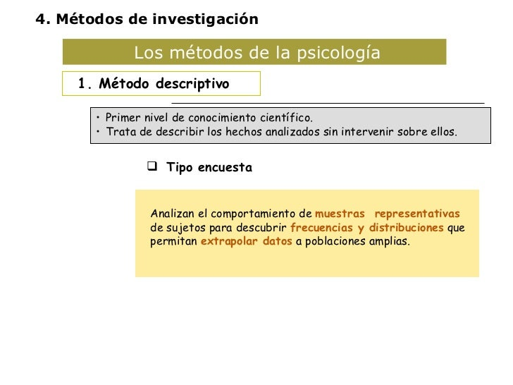 Los métodos de la psicología  <ul><li>1. Método descriptivo </li></ul><ul><li>Tipo encuesta </li></ul><ul><li>Estudio de c...