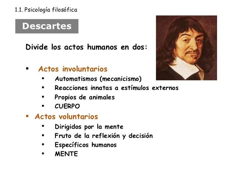 Descartes <ul><li>Divide los actos humanos en dos:  </li></ul><ul><li>Actos involuntarios </li></ul><ul><ul><li>Automatism...
