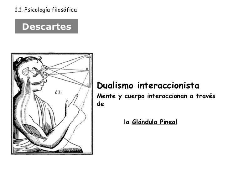 Dualismo interaccionista Mente y cuerpo interaccionan a través de  la  Glándula Pineal Descartes 1.1. Psicología filosófica