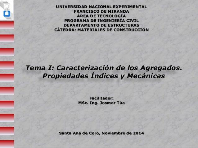 UNIVERSIDAD NACIONAL EXPERIMENTAL  FRANCISCO DE MIRANDA  ÁREA DE TECNOLOGÍA  PROGRAMA DE INGENIERÍA CIVIL  DEPARTAMENTO DE...