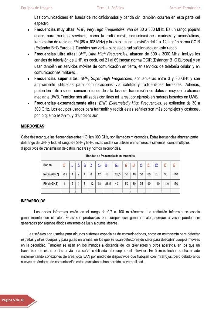 Equipos de Imagen                                     Tema 1. Señales                                     Samuel Fernández...