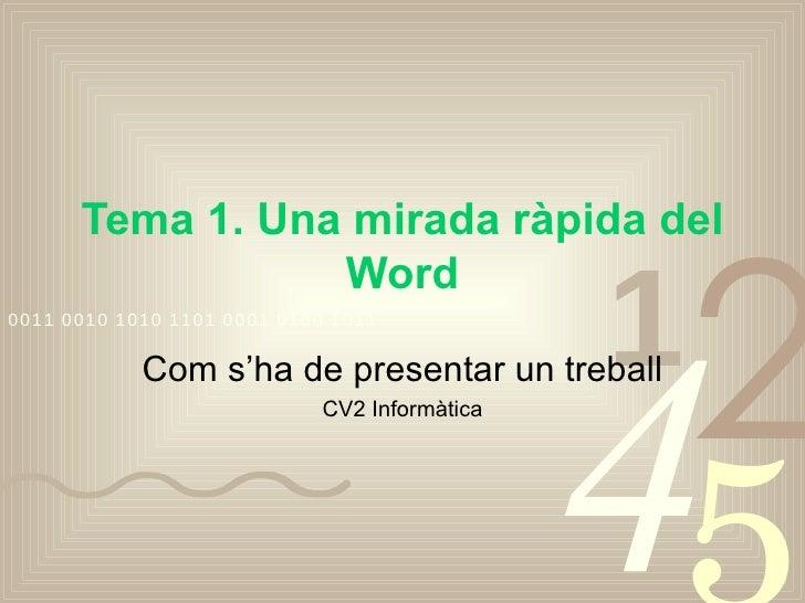 Tema 1. Una mirada ràpida del Word Com s'ha de presentar un treball CV2 Informàtica