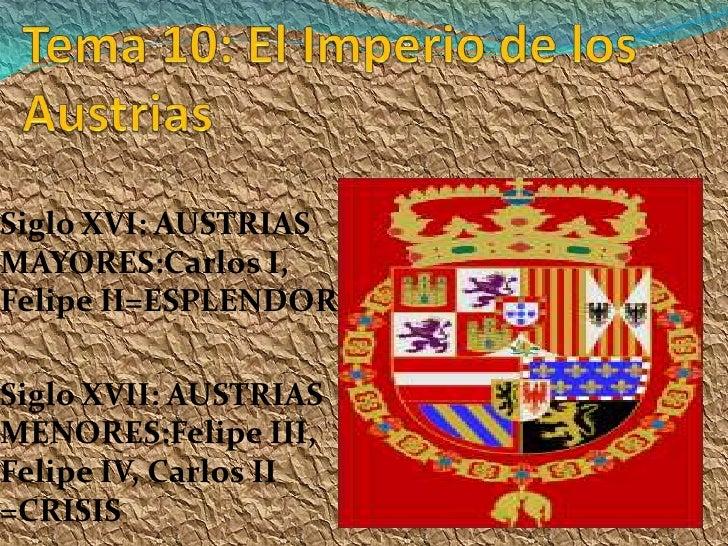 Siglo XVI: AUSTRIAS MAYORES:Carlos I, Felipe II=ESPLENDOR  Siglo XVII: AUSTRIAS MENORES:Felipe III, Felipe IV, Carlos II =...