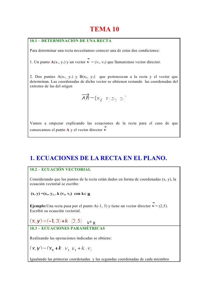 TEMA 10 10.1 – DETERMINACIÓN DE UNA RECTA  Para determinar una recta necesitamos conocer una de estas dos condiciones:  1....