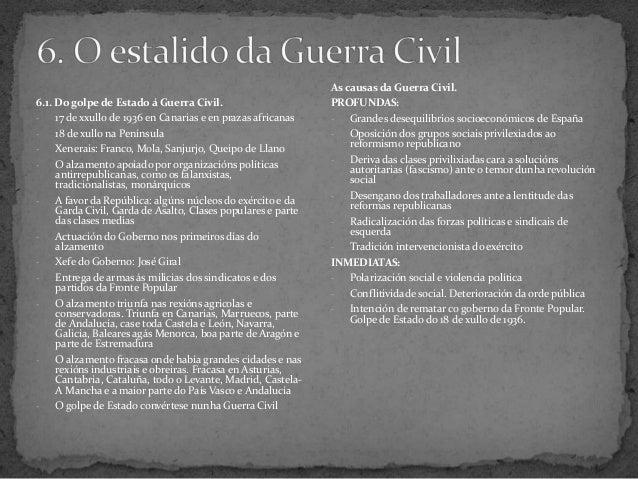 6.1. Do golpe de Estado á Guerra Civil.- 17 de xxullo de 1936 en Canarias e en prazas africanas- 18 de xullo na Península-...