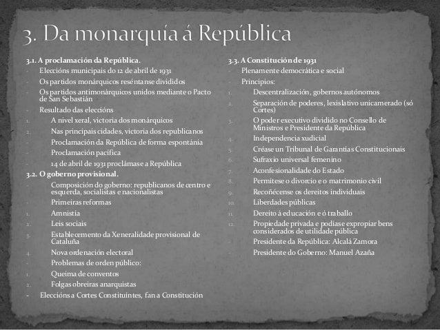 3.1. A proclamación da República.- Eleccións municipais do 12 de abril de 1931- Os partidos monárquicos reséntanse dividid...
