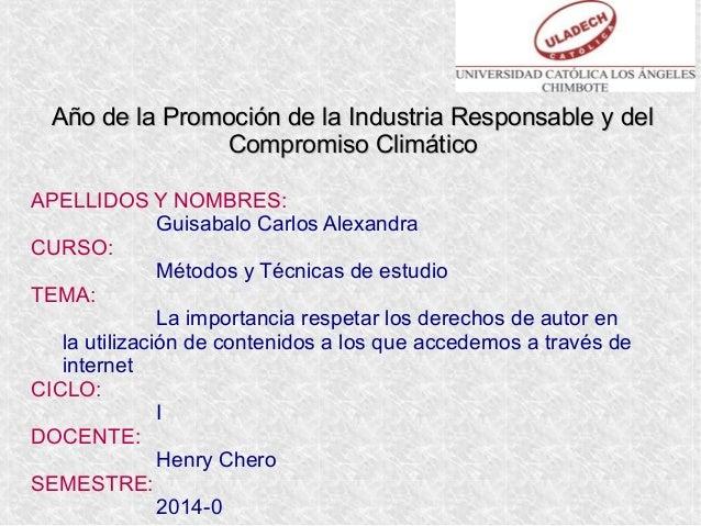 Año de la Promoción de la Industria Responsable y delAño de la Promoción de la Industria Responsable y del Compromiso Clim...