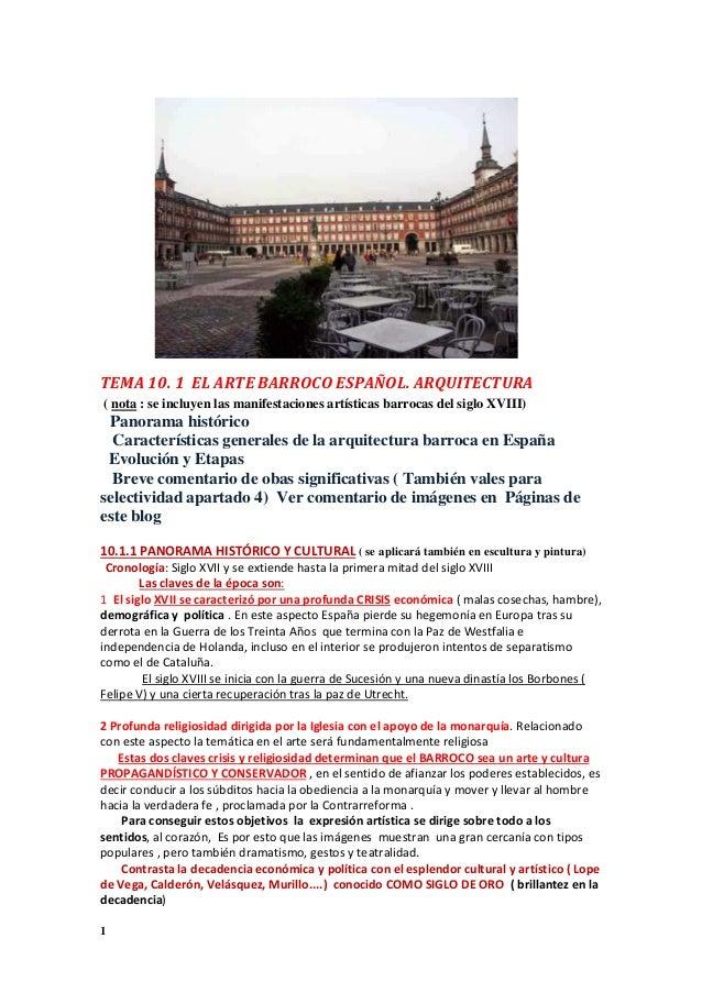 Tema 10 1 ARQUITECTURA BARROCA EN ESPAÑA