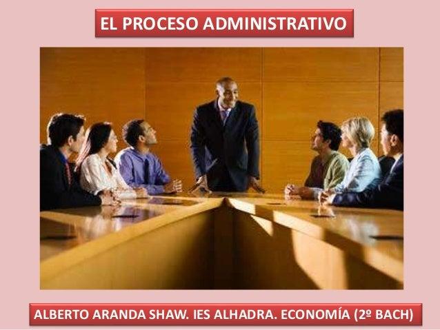 EL PROCESO ADMINISTRATIVO ALBERTO ARANDA SHAW. IES ALHADRA. ECONOMÍA (2º BACH)