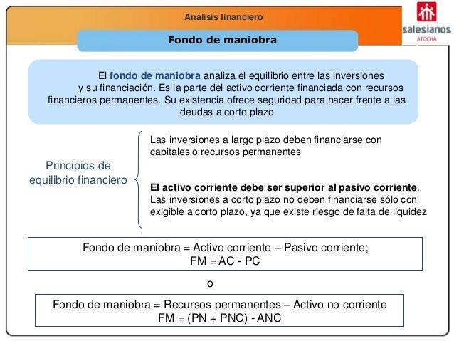 Economía 2.º Bachillerato La función productivaAnálisis financiero Fondo de maniobra El fondo de maniobra analiza el equil...