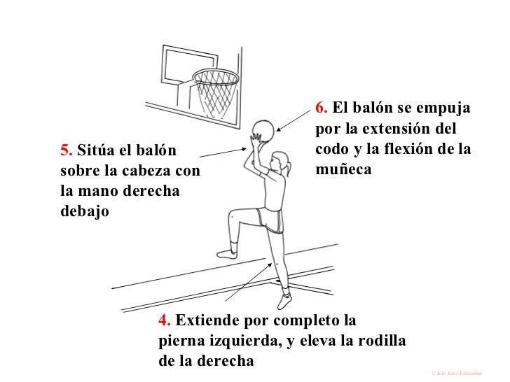 4.  Extiende por completo la pierna izquierda, y eleva la rodilla de la derecha 5.  Sitúa el balón sobre la cabeza con la ...