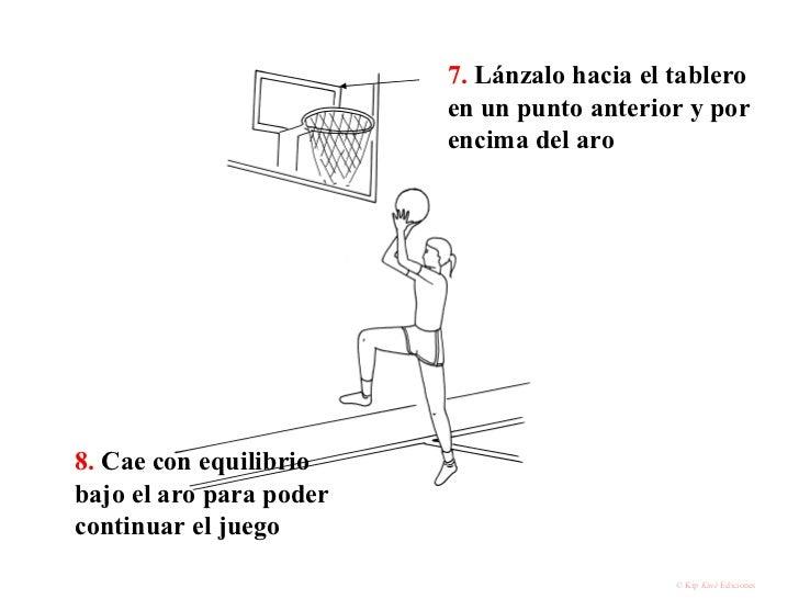 7.  Lánzalo hacia el tablero en un punto anterior y por encima del aro 8.  Cae con equilibrio bajo el aro para poder conti...