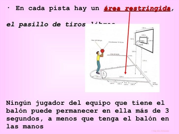 ·  En cada pista hay un  área restringida ,  el pasillo de tiros libres   Ningún jugador del equipo que tiene el balón pue...