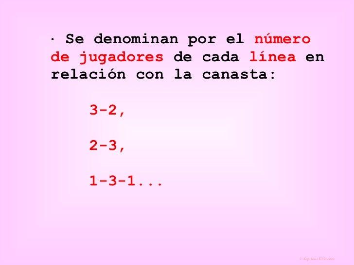    Se denominan por el  número de jugadores  de cada  línea  en relación con la canasta: 3-2,  2-3,  1-3-1...