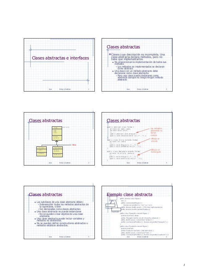 1 Java Arrays y Cadenas 1 Clases abstractas e interfaces Java Arrays y Cadenas 2 Clases abstractas Clases cuya descripción...