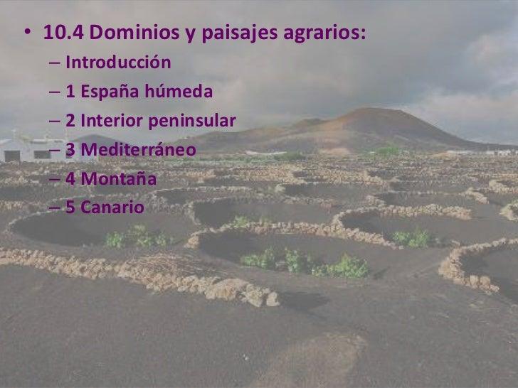 • 10.4 Dominios y paisajes agrarios:  – Introducción  – 1 España húmeda  – 2 Interior peninsular  – 3 Mediterráneo  – 4 Mo...