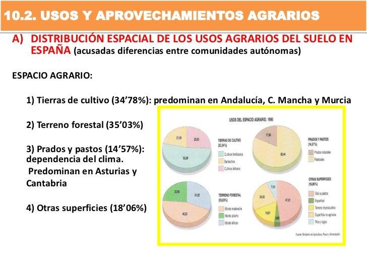 10.2. USOS Y APROVECHAMIENTOS AGRARIOS A) DISTRIBUCIÓN ESPACIAL DE LOS USOS AGRARIOS DEL SUELO EN    ESPAÑA (acusadas dife...
