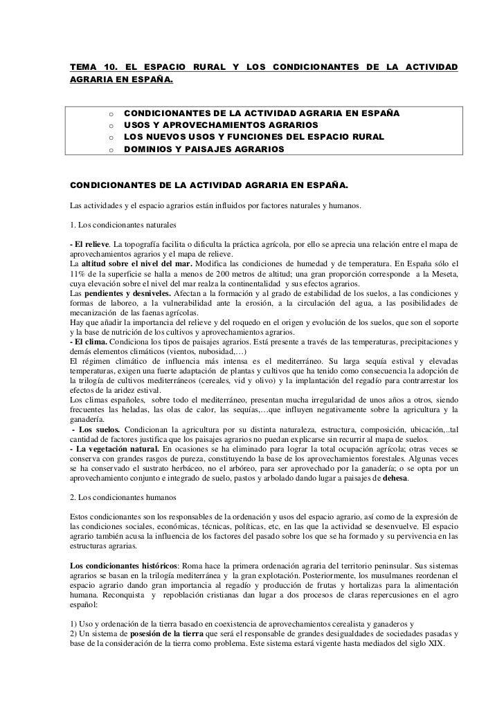 TEMA 10. EL ESPACIO RURAL Y LOS CONDICIONANTES DE LA ACTIVIDADAGRARIA EN ESPAÑA.            o   CONDICIONANTES DE LA ACTIV...