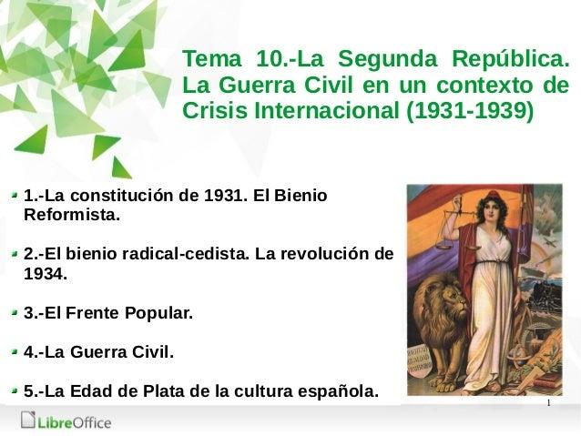 1 Tema 10.-La Segunda República. La Guerra Civil en un contexto de Crisis Internacional (1931-1939) 1.-La constitución de ...