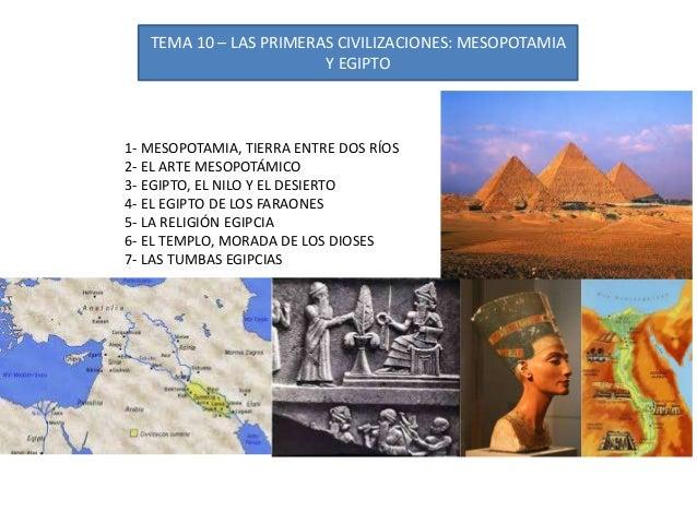TEMA 10 – LAS PRIMERAS CIVILIZACIONES: MESOPOTAMIA Y EGIPTO 1- MESOPOTAMIA, TIERRA ENTRE DOS RÍOS 2- EL ARTE MESOPOTÁMICO ...