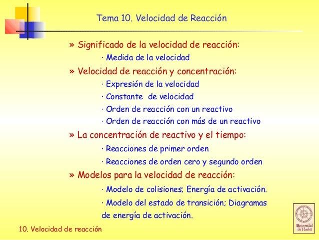 10. Velocidad de reacción Tema 10. Velocidad de Reacción » Significado de la velocidad de reacción: · Medida de la velocid...