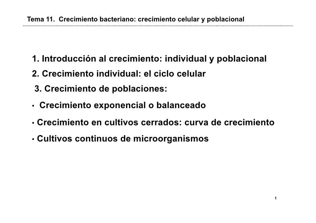 Tema 11. Crecimiento bacteriano: crecimiento celular y poblacional 1. Introducción al crecimiento: individual y poblaciona...