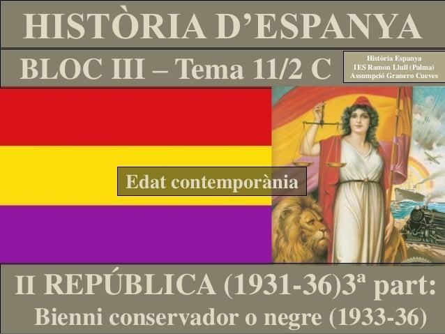 BLOC III – Tema 11/2 C HISTÒRIA D'ESPANYA Història Espanya IES Ramon Llull (Palma) Assumpció Granero Cueves II REPÚBLICA (...