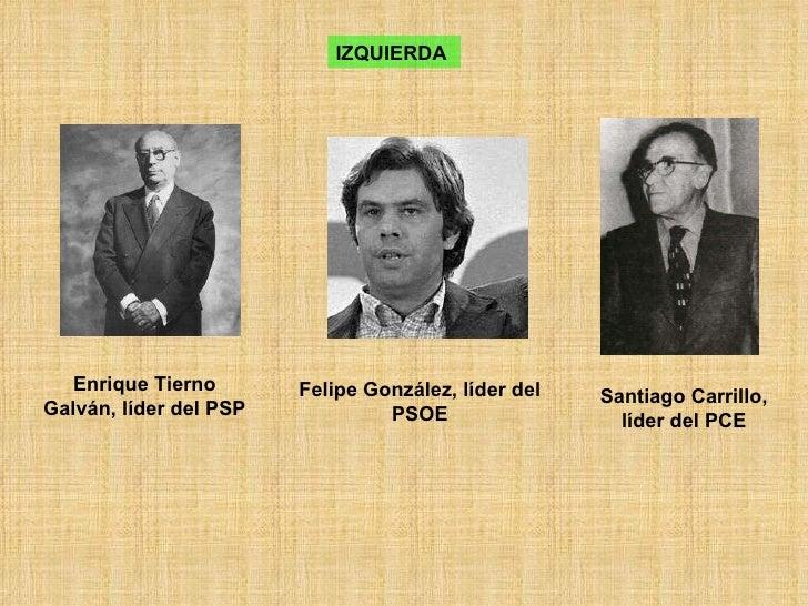 Enrique Tierno Galván, líder del PSP IZQUIERDA   Felipe González, líder del PSOE Santiago Carrillo, líder del PCE