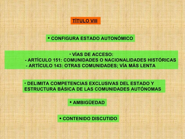 TÍTULO VIII   <ul><li>CONFIGURA ESTADO AUTONÓMICO </li></ul><ul><li>VÍAS DE ACCESO: </li></ul><ul><ul><ul><li>- ARTÍCULO 1...