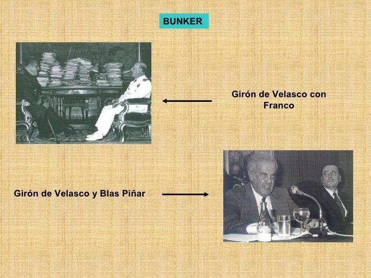 Girón de Velasco con Franco Girón de Velasco y Blas Piñar BUNKER