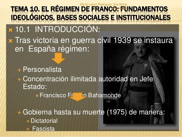 Marta López Rodríguez. Ave María Casa Madre  TEMA 10. EL RÉGIMEN DE FRANCO: FUNDAMENTOS IDEOLÓGICOS, BASES SOCIALES E INST...