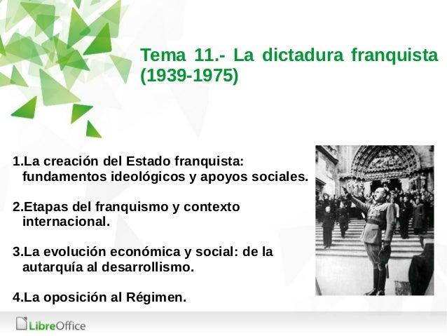 Tema 11.- La dictadura franquista (1939-1975) 1.La creación del Estado franquista: fundamentos ideológicos y apoyos social...