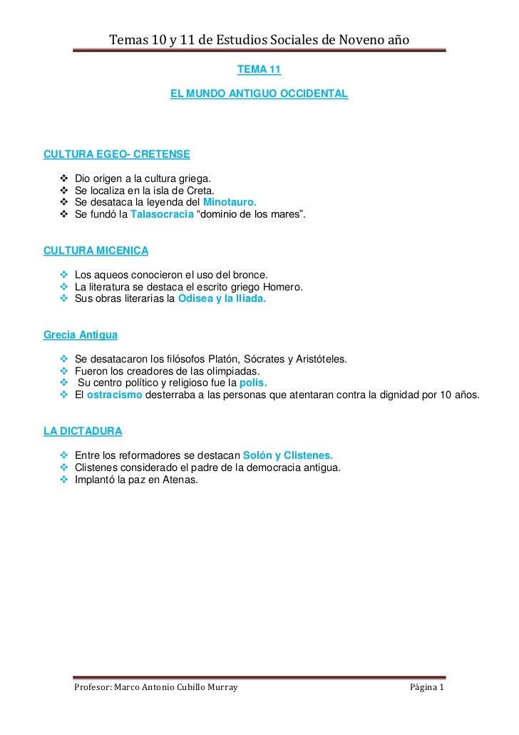 Temas 10 y 11 de Estudios Sociales de Noveno año                                           TEMA 11                        ...
