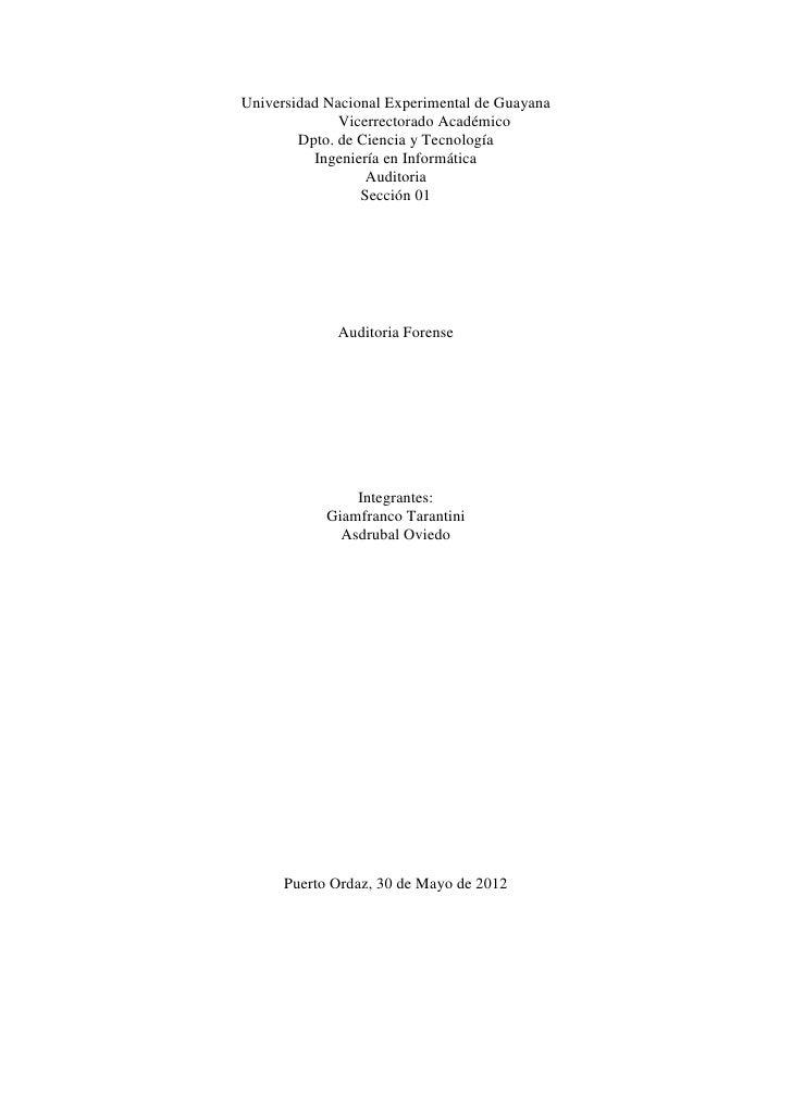 Universidad Nacional Experimental de Guayana              Vicerrectorado Académico        Dpto. de Ciencia y Tecnología   ...
